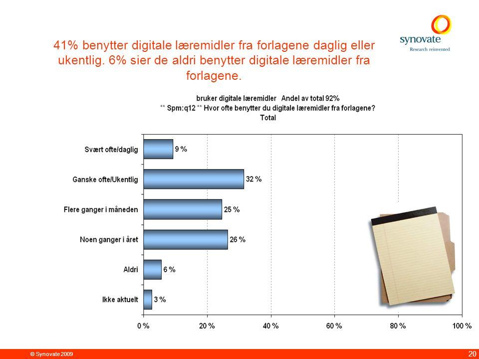 © Synovate 2009 20 41% benytter digitale læremidler fra forlagene daglig eller ukentlig. 6% sier de aldri benytter digitale læremidler fra forlagene.