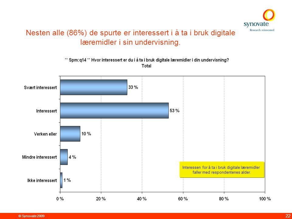 © Synovate 2009 22 Nesten alle (86%) de spurte er interessert i å ta i bruk digitale læremidler i sin undervisning.