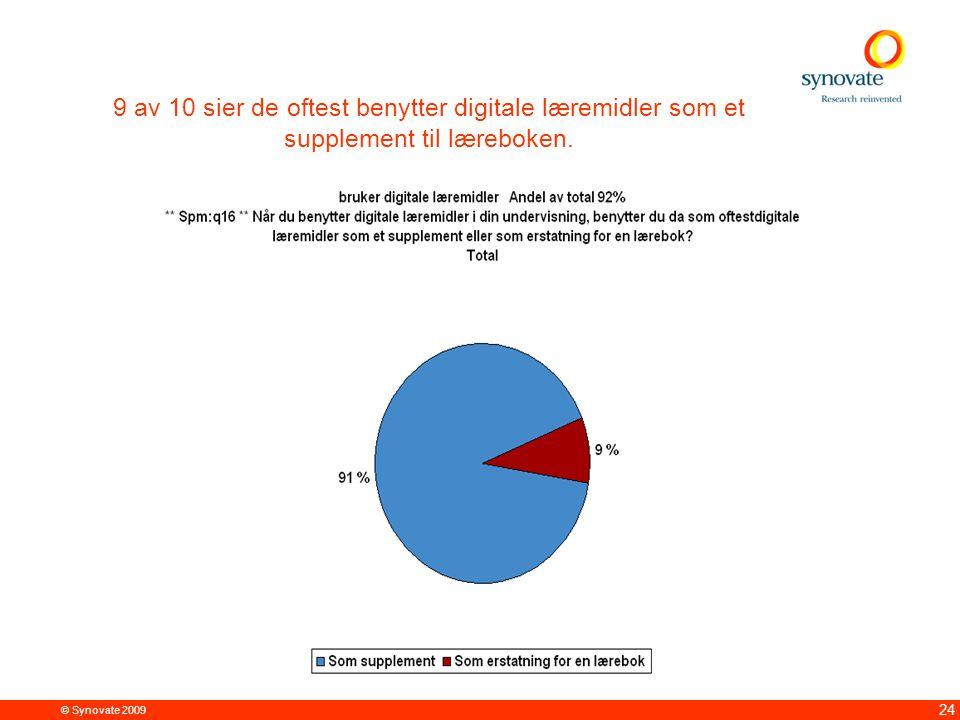 © Synovate 2009 24 9 av 10 sier de oftest benytter digitale læremidler som et supplement til læreboken.