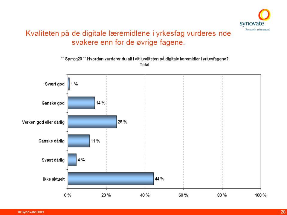 © Synovate 2009 28 Kvaliteten på de digitale læremidlene i yrkesfag vurderes noe svakere enn for de øvrige fagene.