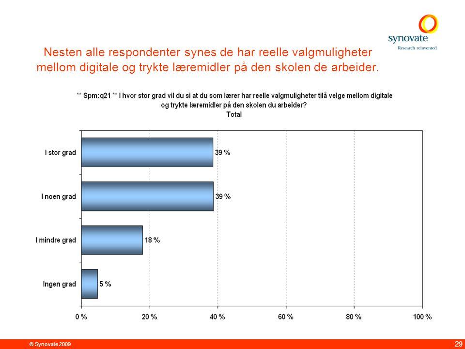© Synovate 2009 29 Nesten alle respondenter synes de har reelle valgmuligheter mellom digitale og trykte læremidler på den skolen de arbeider.