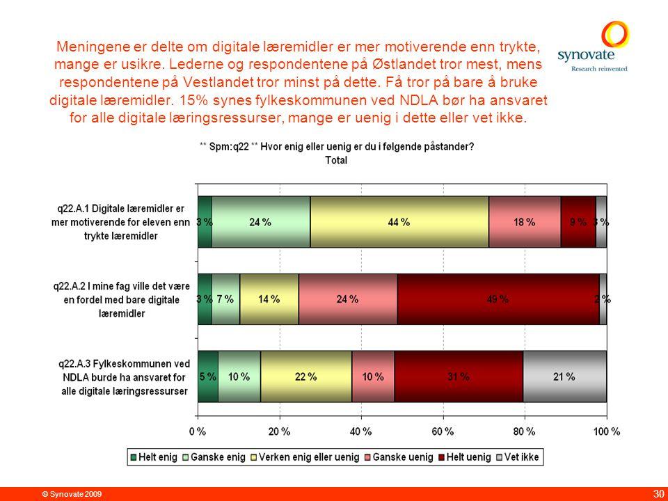 © Synovate 2009 30 Meningene er delte om digitale læremidler er mer motiverende enn trykte, mange er usikre. Lederne og respondentene på Østlandet tro