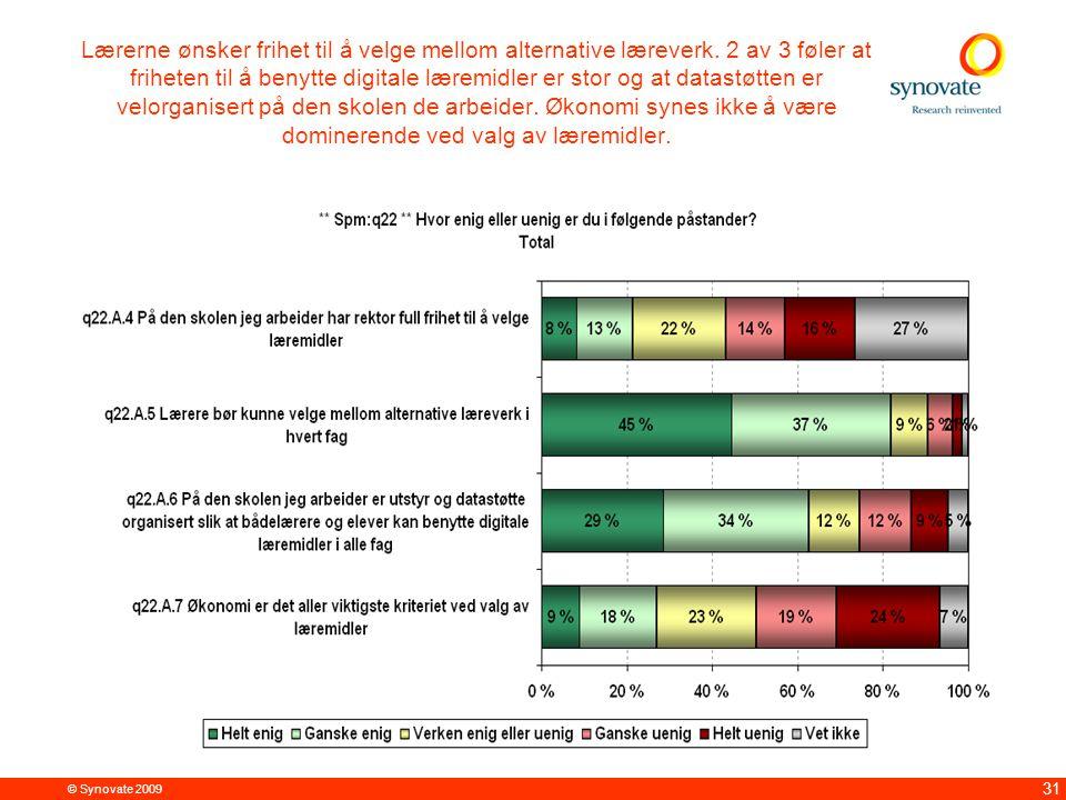 © Synovate 2009 31 Lærerne ønsker frihet til å velge mellom alternative læreverk. 2 av 3 føler at friheten til å benytte digitale læremidler er stor o