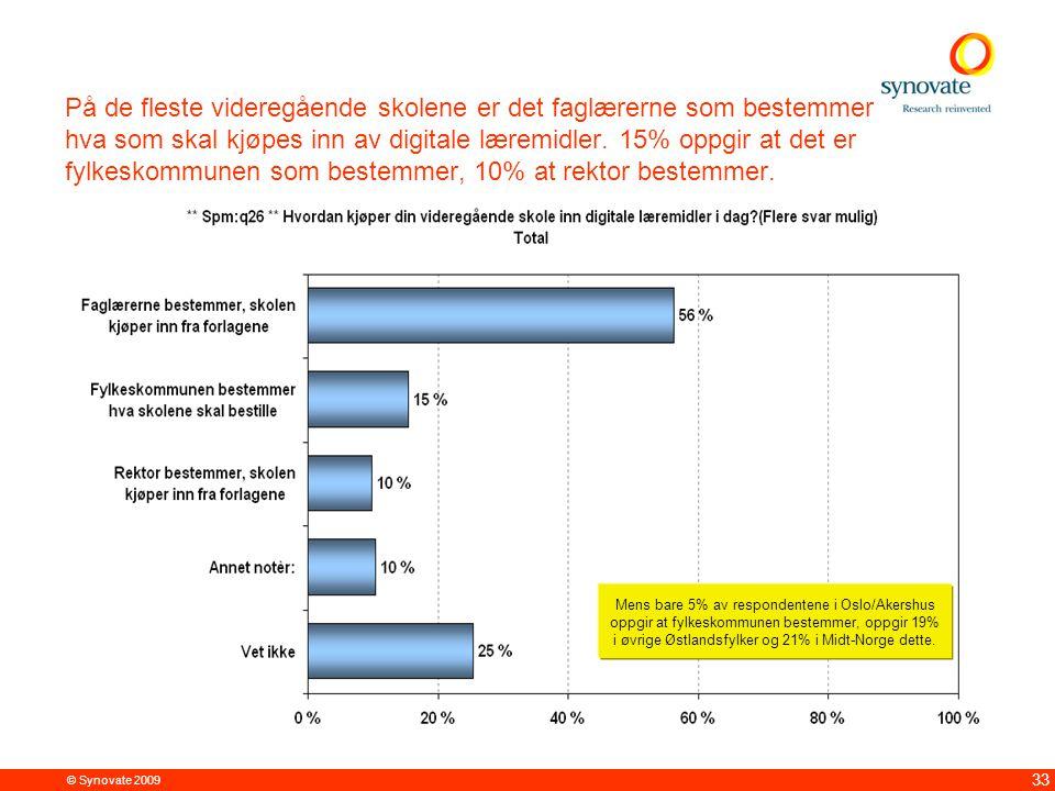 © Synovate 2009 33 På de fleste videregående skolene er det faglærerne som bestemmer hva som skal kjøpes inn av digitale læremidler. 15% oppgir at det