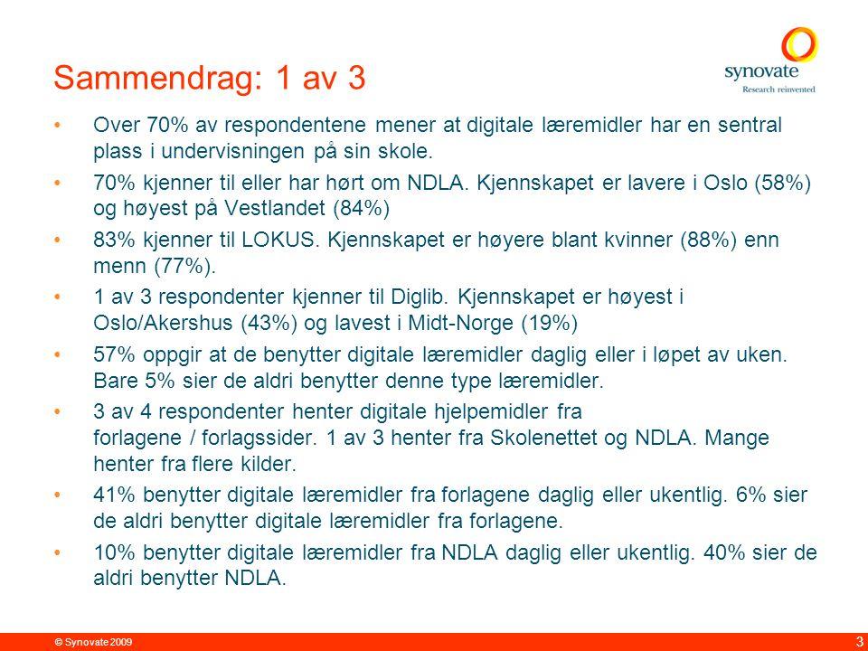© Synovate 2009 4 Sammendrag: 2 av 3 Nesten alle (86%) de spurte er interessert i å ta i bruk digitale læremidler i sin undervisning.