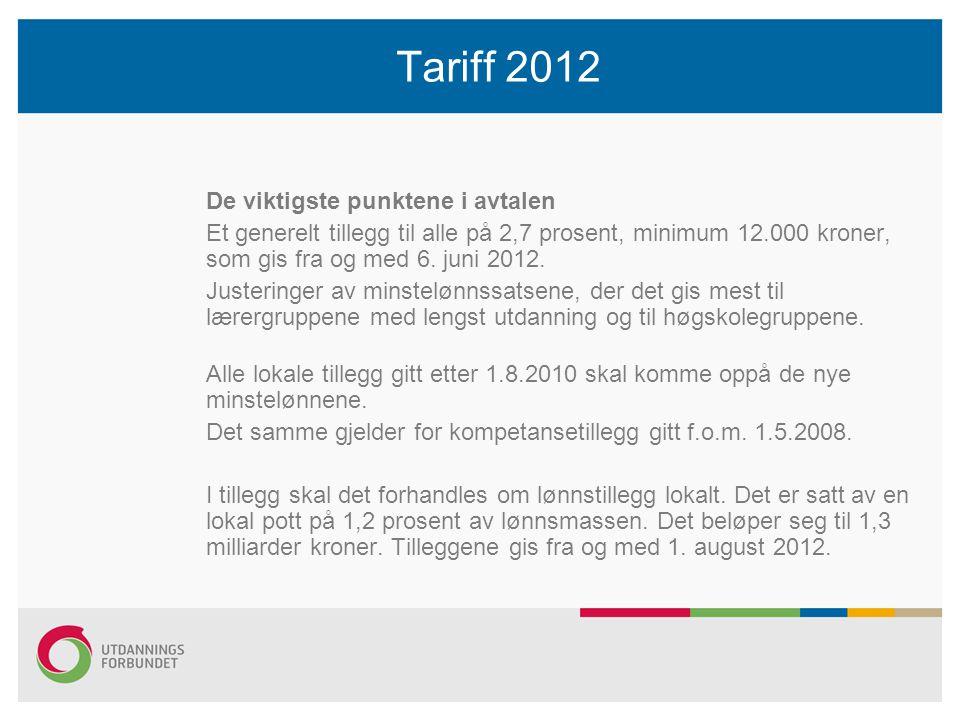 Tariff 2012 De viktigste punktene i avtalen Et generelt tillegg til alle på 2,7 prosent, minimum 12.000 kroner, som gis fra og med 6.