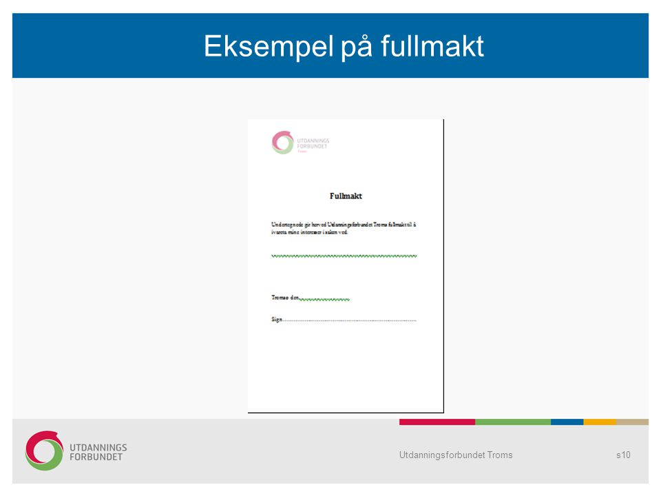 Eksempel på fullmakt Utdanningsforbundet Tromss10