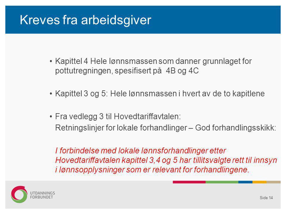 Kreves fra arbeidsgiver Kapittel 4 Hele lønnsmassen som danner grunnlaget for pottutregningen, spesifisert på 4B og 4C Kapittel 3 og 5: Hele lønnsmass