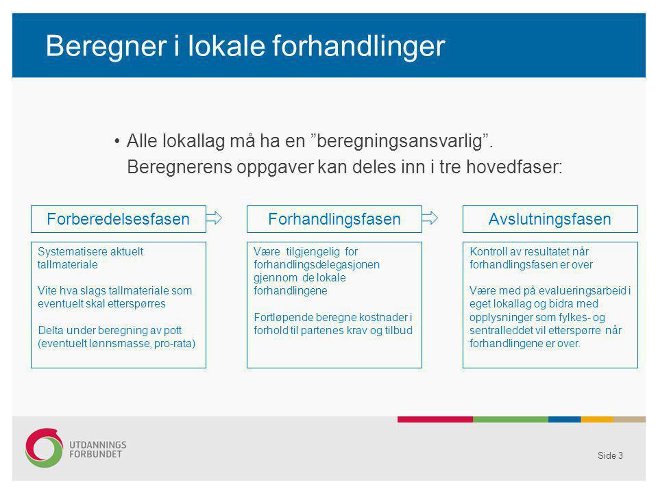 """Beregner i lokale forhandlinger Alle lokallag må ha en """"beregningsansvarlig"""". Beregnerens oppgaver kan deles inn i tre hovedfaser: Side 3 Forberedelse"""