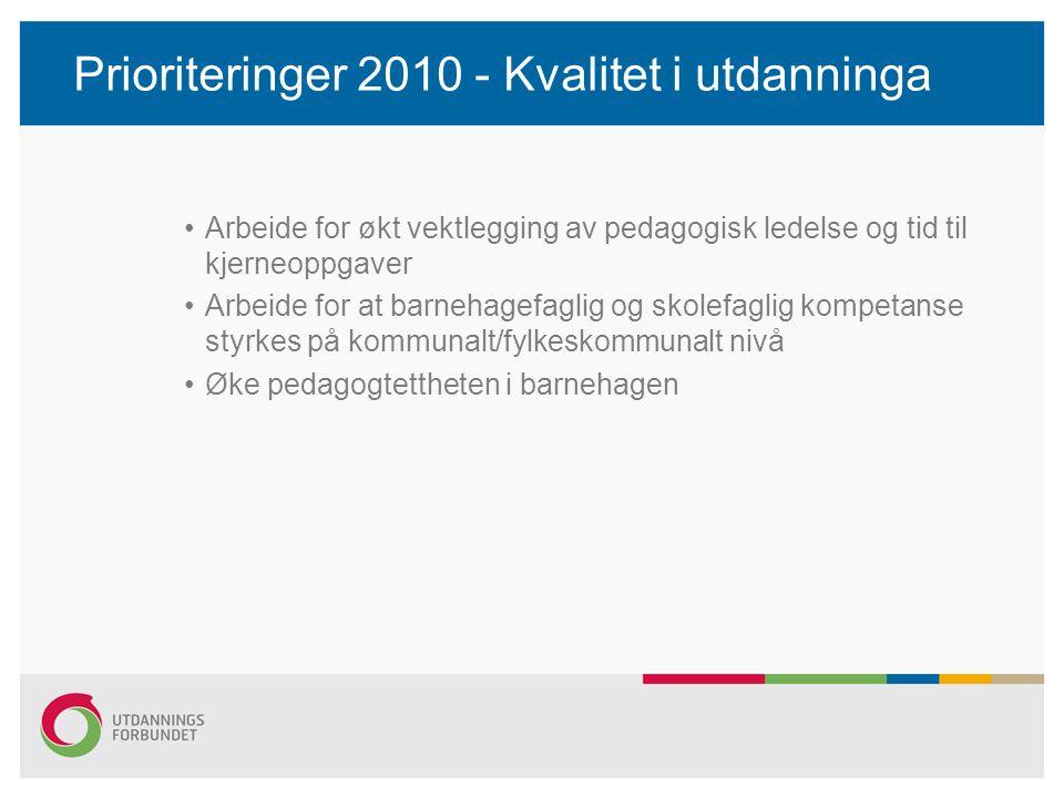 Prioriteringer 2010 - Kvalitet i utdanninga Arbeide for økt vektlegging av pedagogisk ledelse og tid til kjerneoppgaver Arbeide for at barnehagefaglig og skolefaglig kompetanse styrkes på kommunalt/fylkeskommunalt nivå Øke pedagogtettheten i barnehagen