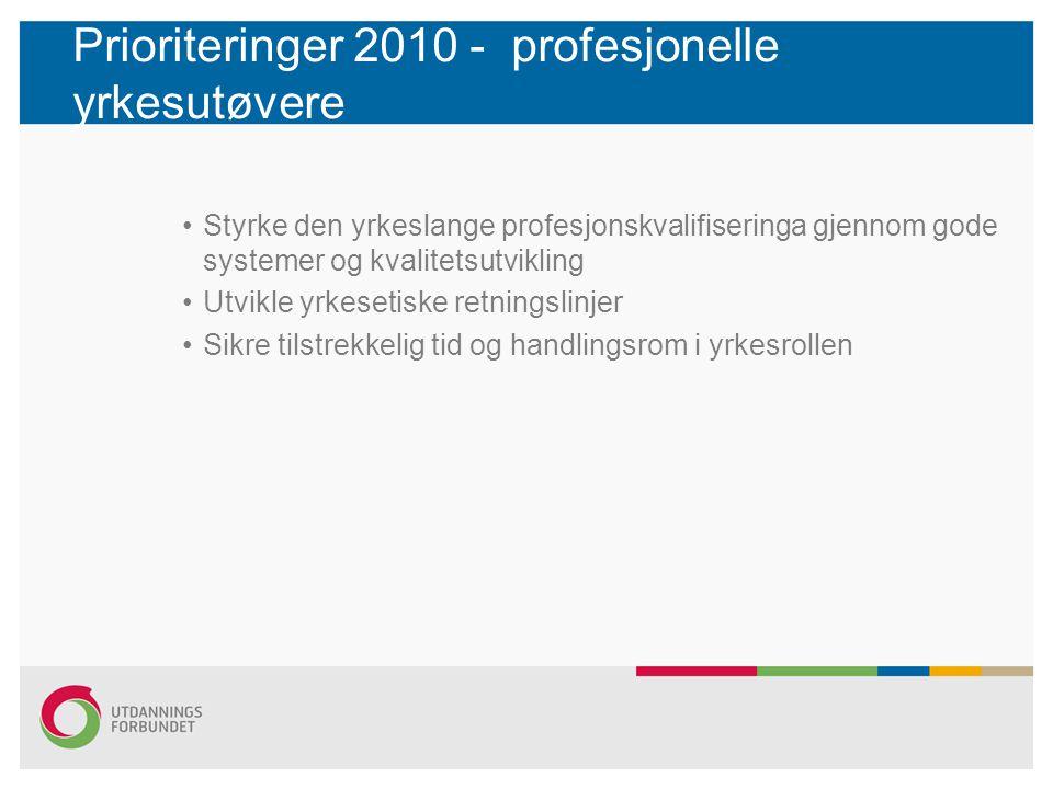 Prioriteringer 2010 - profesjonelle yrkesutøvere Styrke den yrkeslange profesjonskvalifiseringa gjennom gode systemer og kvalitetsutvikling Utvikle yrkesetiske retningslinjer Sikre tilstrekkelig tid og handlingsrom i yrkesrollen