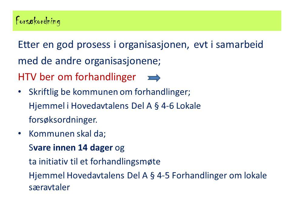 Forsøkordning Etter en god prosess i organisasjonen, evt i samarbeid med de andre organisasjonene; HTV ber om forhandlinger Skriftlig be kommunen om f