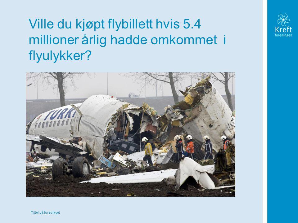 Tittel på foredraget Ville du kjøpt flybillett hvis 5.4 millioner årlig hadde omkommet i flyulykker?
