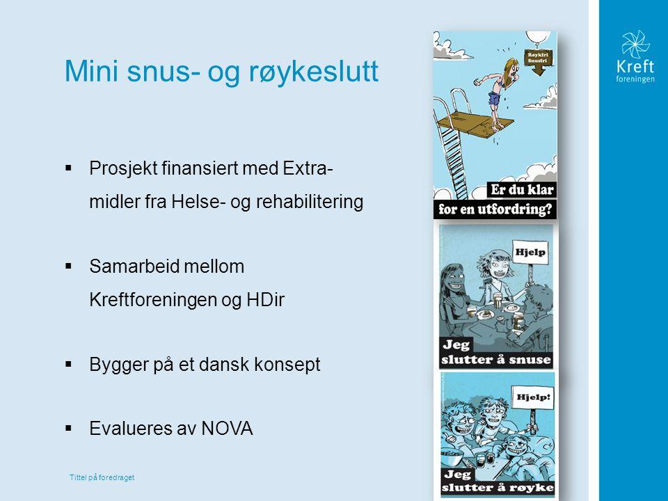 Tittel på foredraget Mini snus- og røykeslutt  Prosjekt finansiert med Extra- midler fra Helse- og rehabilitering  Samarbeid mellom Kreftforeningen