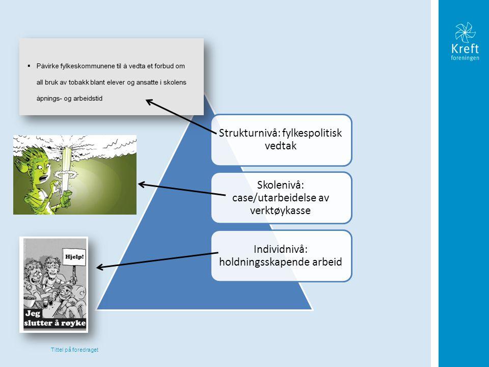 Tittel på foredraget Strukturnivå: fylkespolitisk vedtak Skolenivå: case/utarbeidelse av verktøykasse Individnivå: holdningsskapende arbeid
