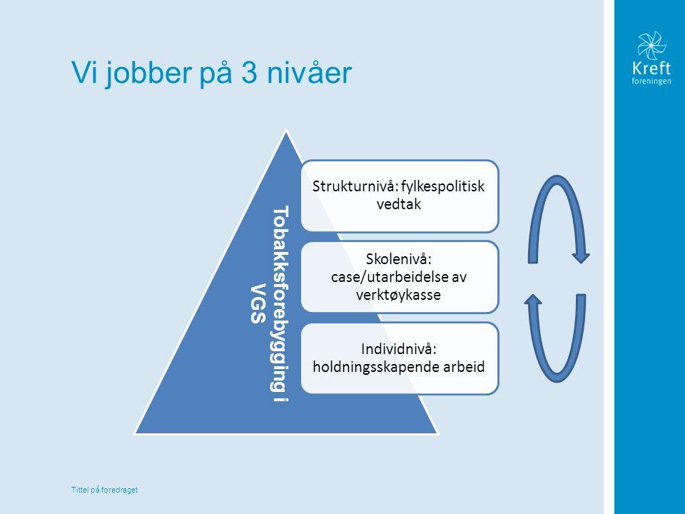 Tittel på foredraget Vi jobber på 3 nivåer Strukturnivå: fylkespolitisk vedtak Skolenivå: case/utarbeidelse av verktøykasse Individnivå: holdningsskap