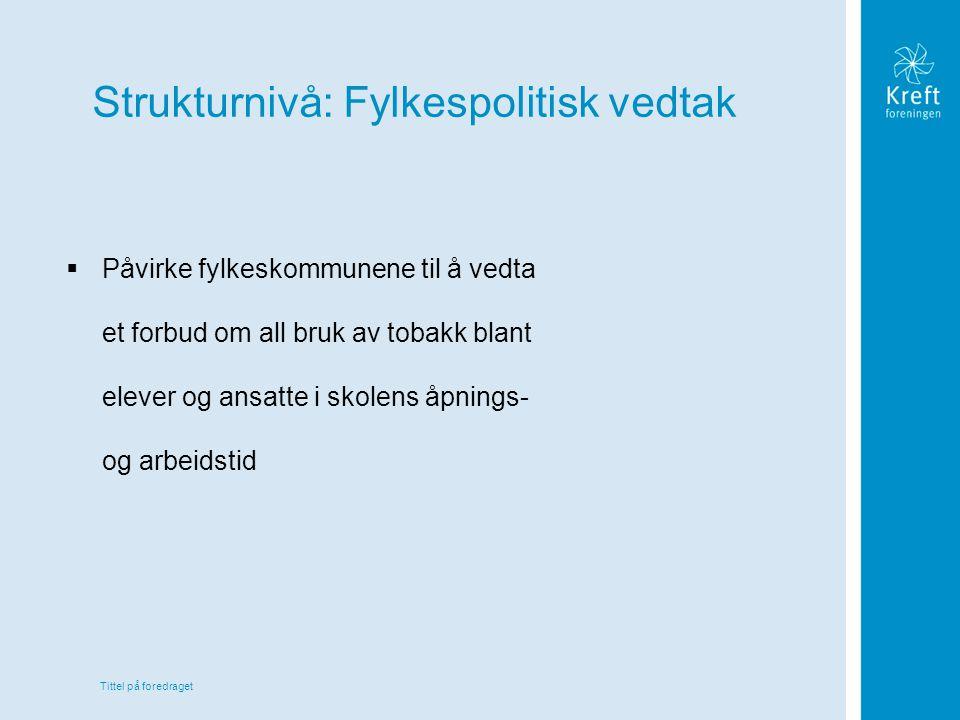Tittel på foredraget Strukturnivå: Fylkespolitisk vedtak  Påvirke fylkeskommunene til å vedta et forbud om all bruk av tobakk blant elever og ansatte