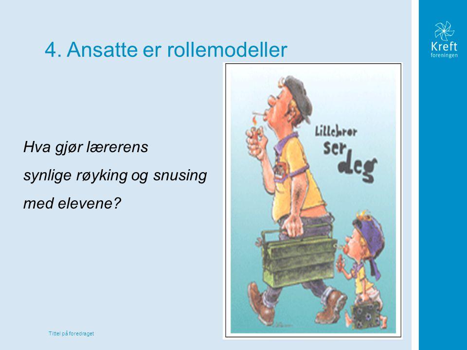 Tittel på foredraget 4. Ansatte er rollemodeller Hva gjør lærerens synlige røyking og snusing med elevene?