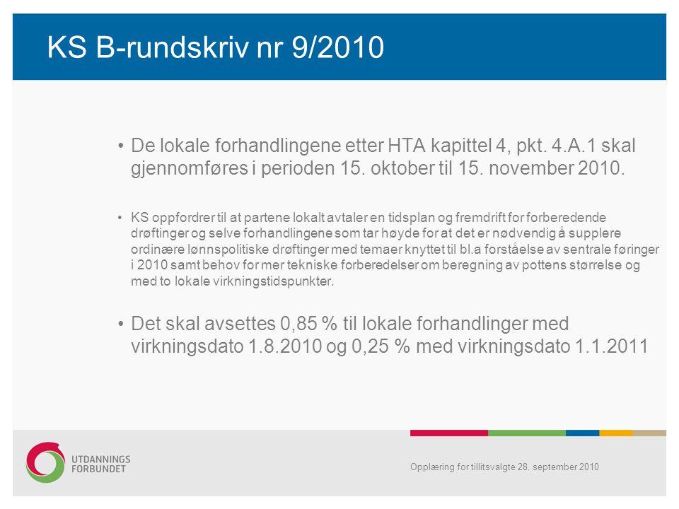 KS B-rundskriv nr 9/2010 De lokale forhandlingene etter HTA kapittel 4, pkt. 4.A.1 skal gjennomføres i perioden 15. oktober til 15. november 2010. KS