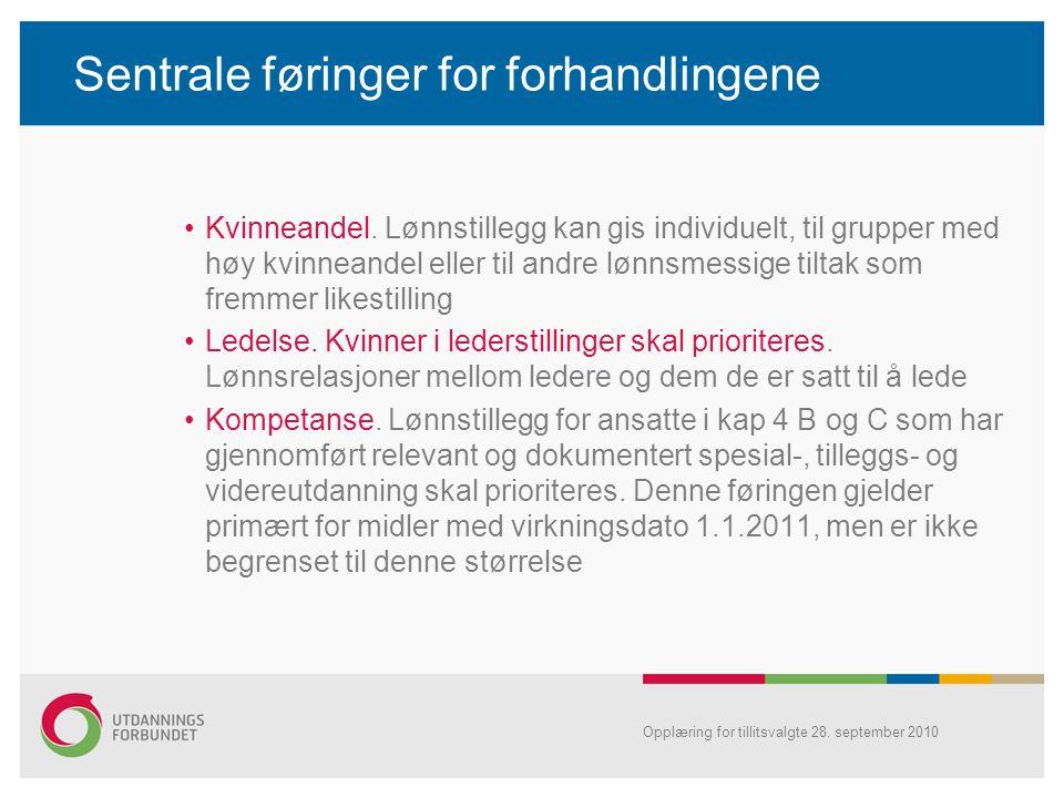 Sentrale føringer for forhandlingene Kvinneandel. Lønnstillegg kan gis individuelt, til grupper med høy kvinneandel eller til andre lønnsmessige tilta