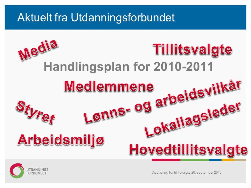 Opplæring for tillitsvalgte 28. september 2010 Aktuelt fra Utdanningsforbundet Handlingsplan for 2010-2011