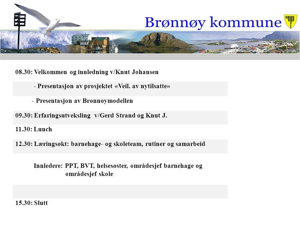 08.30: Velkommen og innledning v/Knut Johansen - Presentasjon av prosjektet «Veil. av nytilsatte» - Presentasjon av Brønnøymodellen 09.30: Erfaringsut