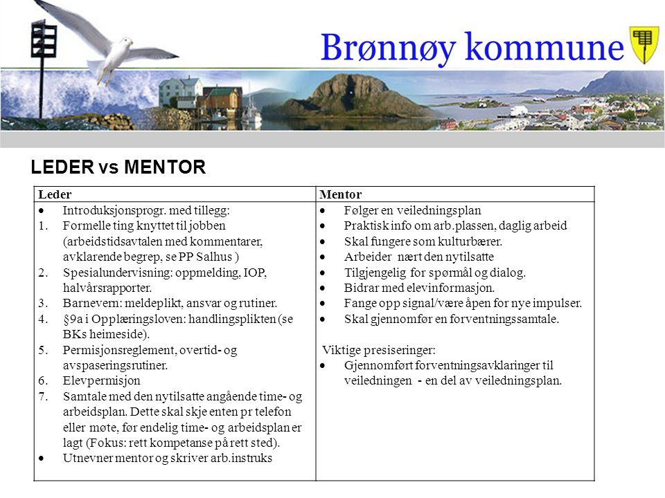 LederMentor  Introduksjonsprogr. med tillegg: 1.Formelle ting knyttet til jobben (arbeidstidsavtalen med kommentarer, avklarende begrep, se PP Salhus