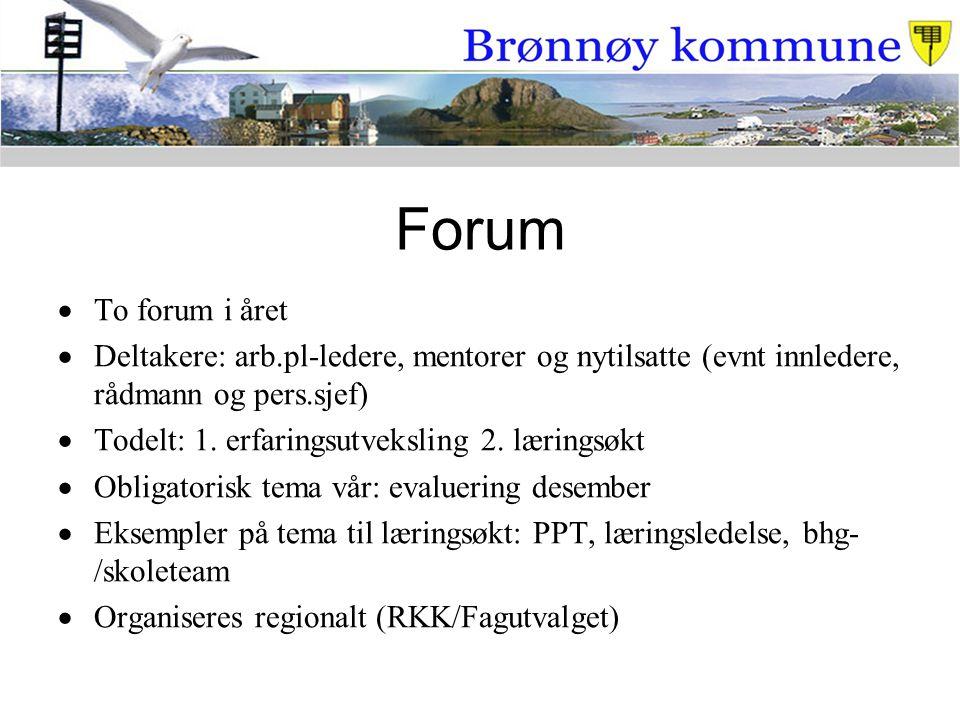 Forum  To forum i året  Deltakere: arb.pl-ledere, mentorer og nytilsatte (evnt innledere, rådmann og pers.sjef)  Todelt: 1. erfaringsutveksling 2.
