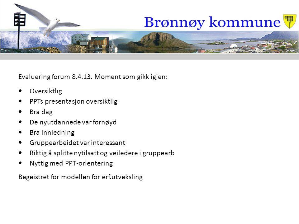 Evaluering forum 8.4.13. Moment som gikk igjen:  Oversiktlig  PPTs presentasjon oversiktlig  Bra dag  De nyutdannede var fornøyd  Bra innledning