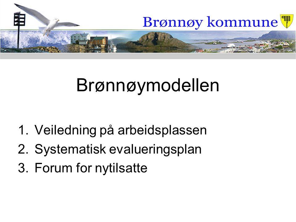 Brønnøymodellen 1.Veiledning på arbeidsplassen 2.Systematisk evalueringsplan 3.Forum for nytilsatte
