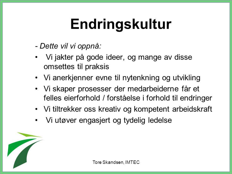 Tore Skandsen, IMTEC Endringskultur - Dette vil vi oppnå: Vi jakter på gode ideer, og mange av disse omsettes til praksis Vi anerkjenner evne til nyte