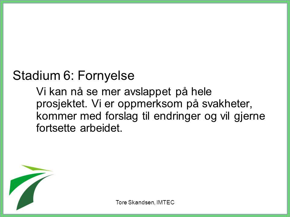 Tore Skandsen, IMTEC Stadium 6: Fornyelse Vi kan nå se mer avslappet på hele prosjektet. Vi er oppmerksom på svakheter, kommer med forslag til endring