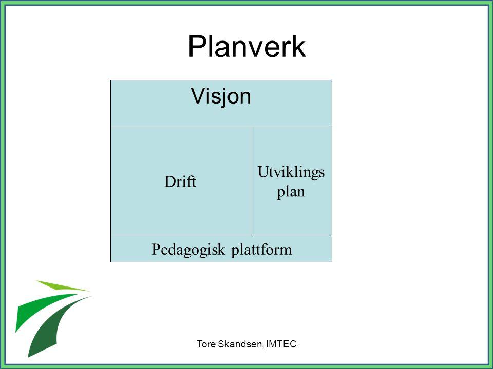Tore Skandsen, IMTEC Planverk Visjon Drift Utviklings plan Pedagogisk plattform
