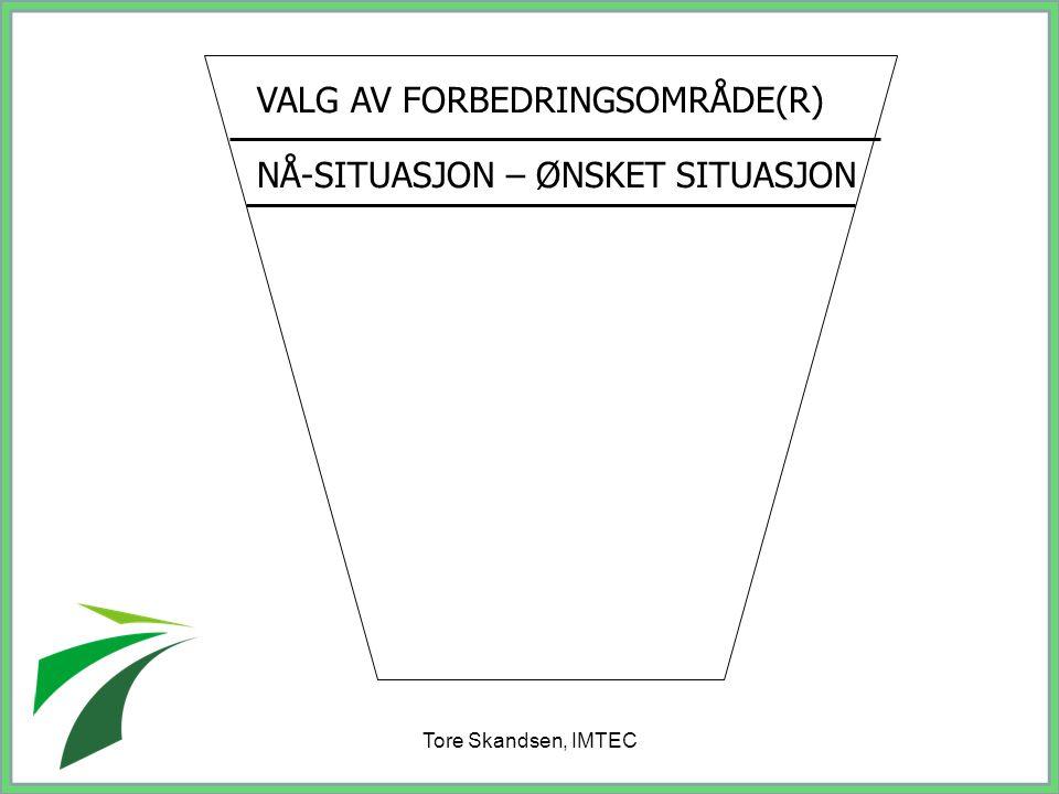Tore Skandsen, IMTEC VALG AV FORBEDRINGSOMRÅDE(R) NÅ-SITUASJON – ØNSKET SITUASJON