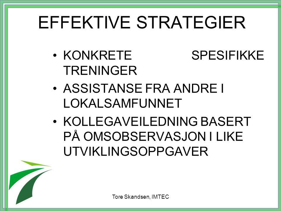 Tore Skandsen, IMTEC EFFEKTIVE STRATEGIER KONKRETE SPESIFIKKE TRENINGER ASSISTANSE FRA ANDRE I LOKALSAMFUNNET KOLLEGAVEILEDNING BASERT PÅ OMSOBSERVASJ