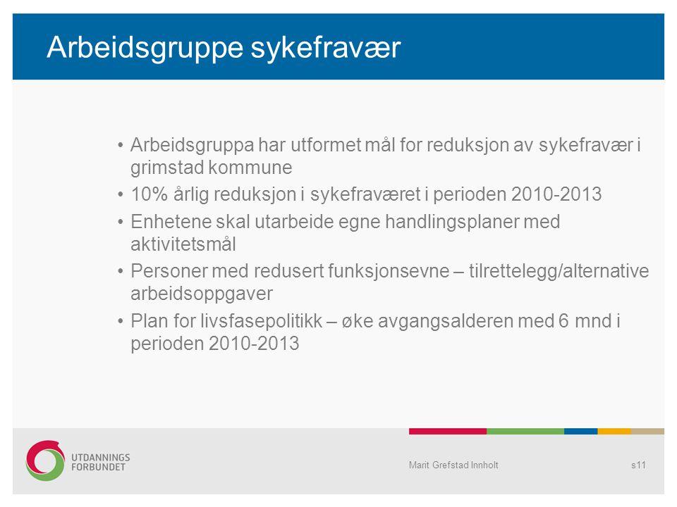 Arbeidsgruppe sykefravær Arbeidsgruppa har utformet mål for reduksjon av sykefravær i grimstad kommune 10% årlig reduksjon i sykefraværet i perioden 2