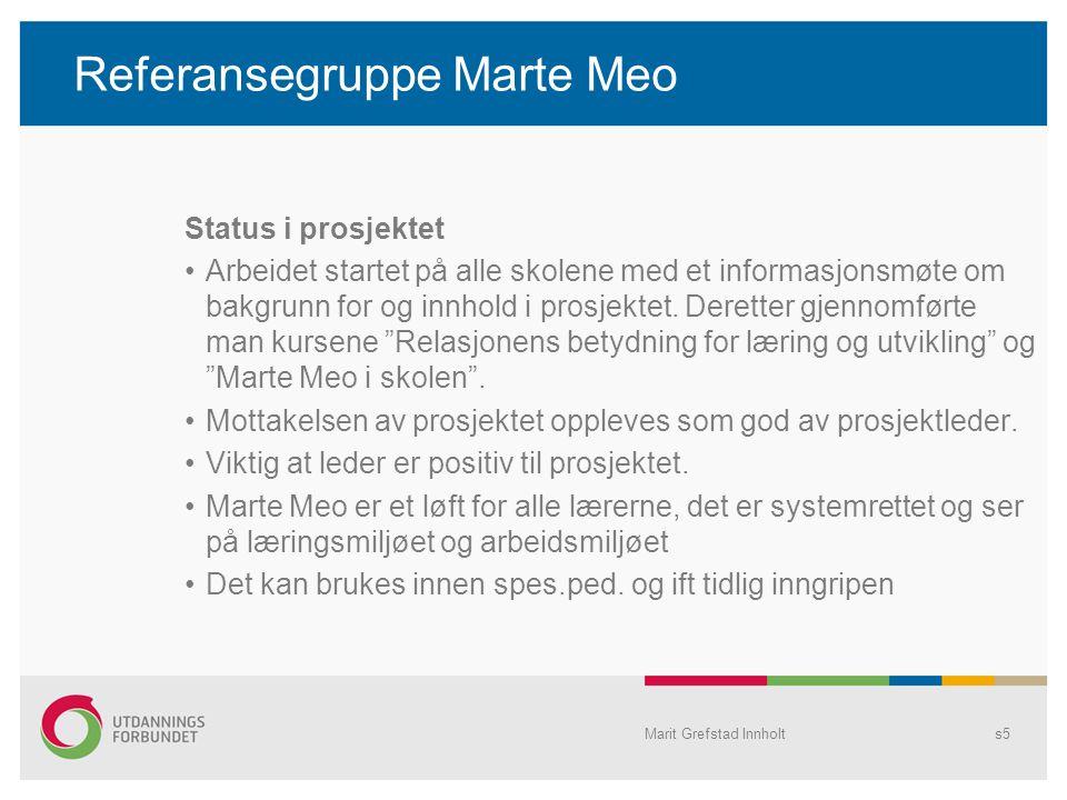 Referansegruppe Marte Meo Status i prosjektet Arbeidet startet på alle skolene med et informasjonsmøte om bakgrunn for og innhold i prosjektet. Derett