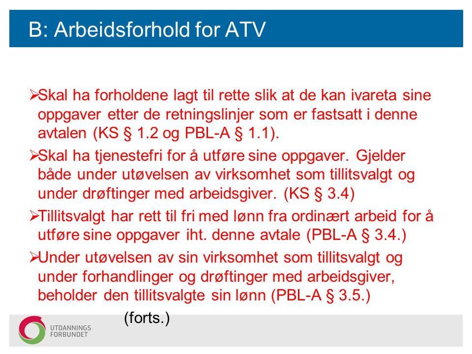 B: Arbeidsforhold for ATV  Skal ha forholdene lagt til rette slik at de kan ivareta sine oppgaver etter de retningslinjer som er fastsatt i denne avtalen (KS § 1.2 og PBL-A § 1.1).