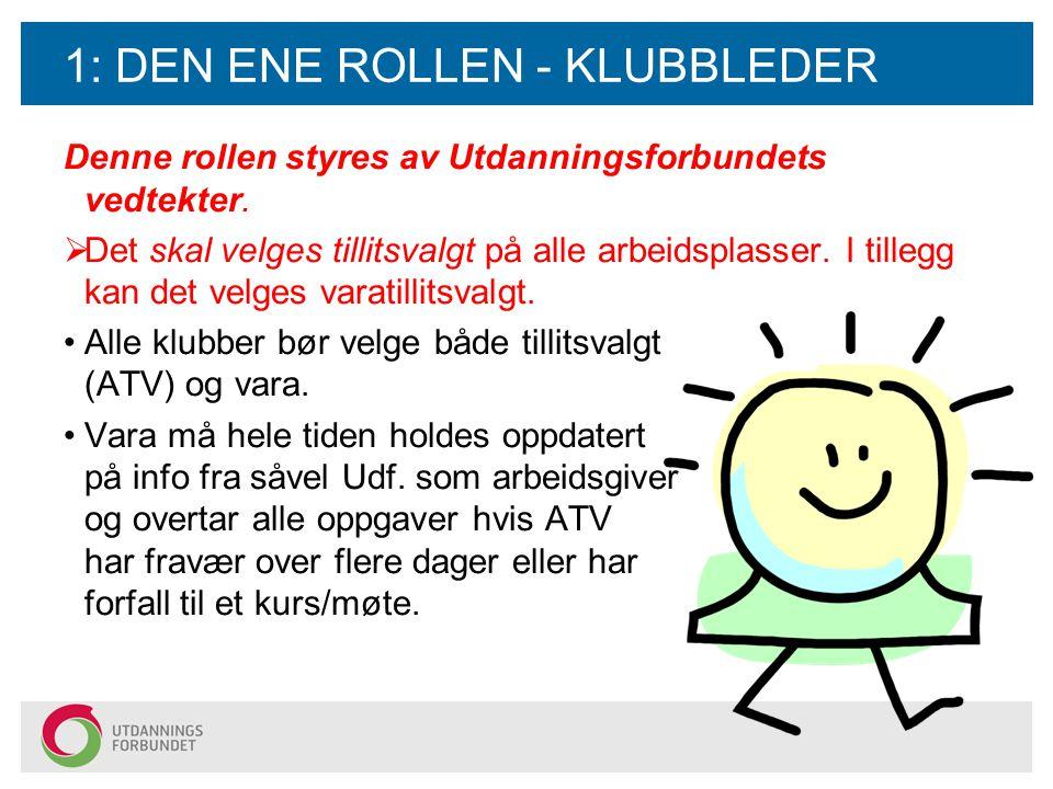 1: DEN ENE ROLLEN - KLUBBLEDER Denne rollen styres av Utdanningsforbundets vedtekter.