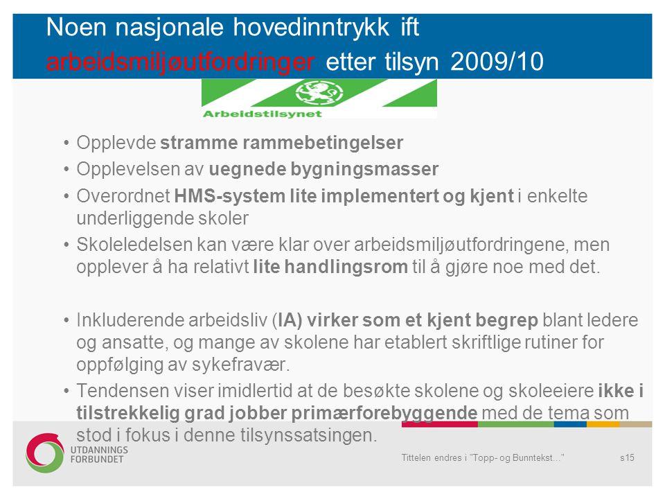 Noen nasjonale hovedinntrykk ift arbeidsmiljøutfordringer etter tilsyn 2009/10 Opplevde stramme rammebetingelser Opplevelsen av uegnede bygningsmasser