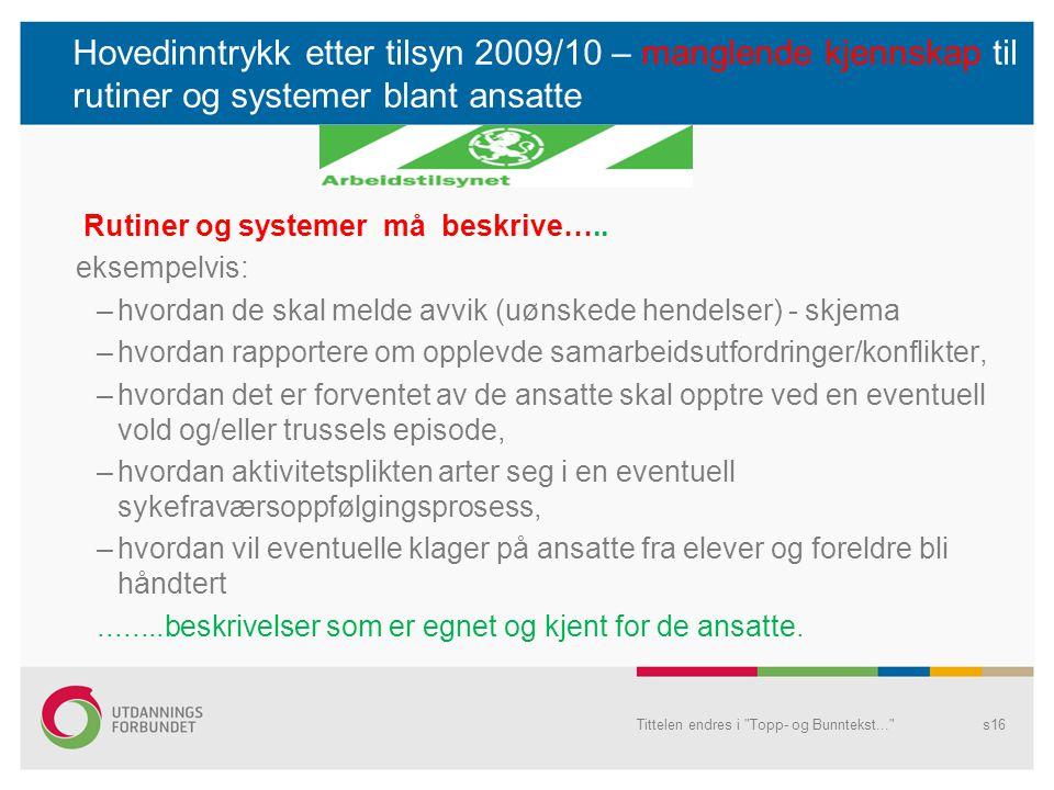 Hovedinntrykk etter tilsyn 2009/10 – manglende kjennskap til rutiner og systemer blant ansatte Rutiner og systemer må beskrive….. eksempelvis: –hvorda