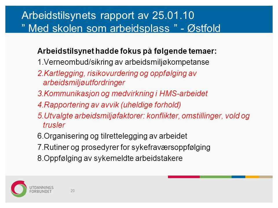"""Arbeidstilsynets rapport av 25.01.10 """" Med skolen som arbeidsplass """" - Østfold Arbeidstilsynet hadde fokus på følgende temaer: 1.Verneombud/sikring av"""