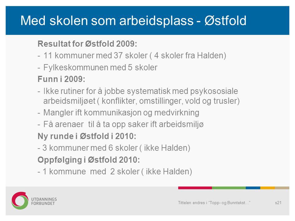 Med skolen som arbeidsplass - Østfold Resultat for Østfold 2009: -11 kommuner med 37 skoler ( 4 skoler fra Halden) -Fylkeskommunen med 5 skoler Funn i