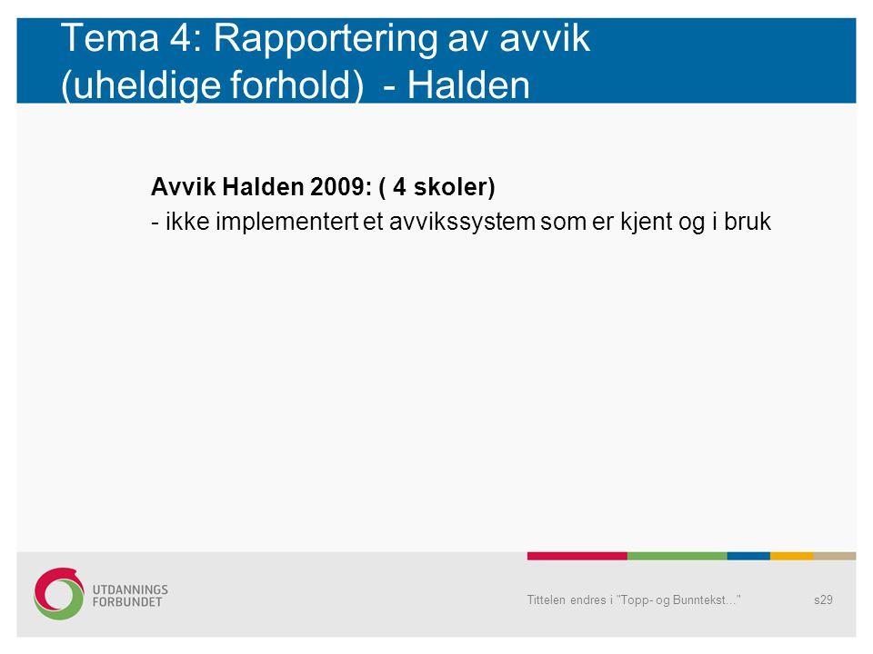 Tema 4: Rapportering av avvik (uheldige forhold) - Halden Avvik Halden 2009: ( 4 skoler) - ikke implementert et avvikssystem som er kjent og i bruk Ti