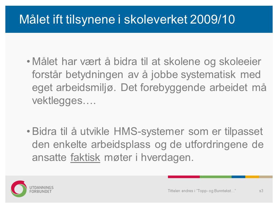 Målet ift tilsynene i skoleverket 2009/10 Målet har vært å bidra til at skolene og skoleeier forstår betydningen av å jobbe systematisk med eget arbei