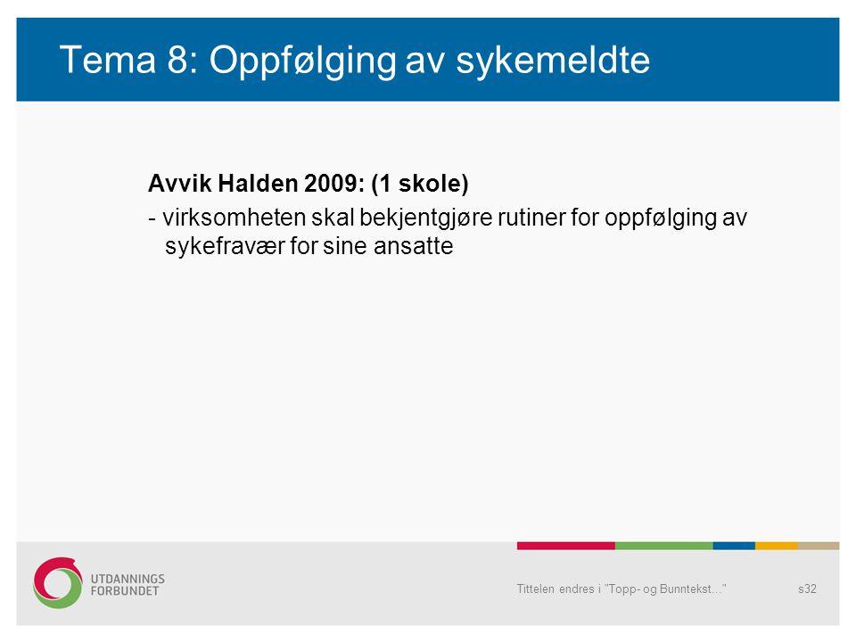 Tema 8: Oppfølging av sykemeldte Avvik Halden 2009: (1 skole) - virksomheten skal bekjentgjøre rutiner for oppfølging av sykefravær for sine ansatte T