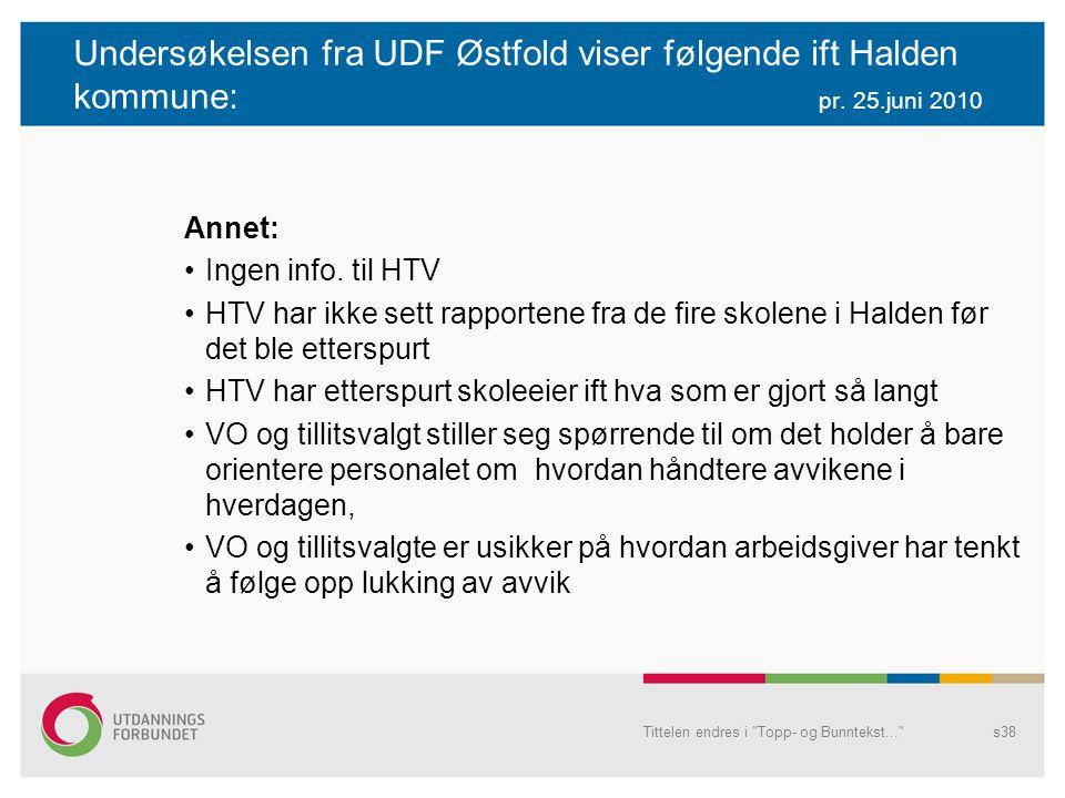 Undersøkelsen fra UDF Østfold viser følgende ift Halden kommune: pr. 25.juni 2010 Annet: Ingen info. til HTV HTV har ikke sett rapportene fra de fire