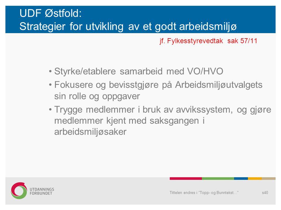 UDF Østfold: Strategier for utvikling av et godt arbeidsmiljø jf. Fylkesstyrevedtak sak 57/11 Styrke/etablere samarbeid med VO/HVO Fokusere og bevisst
