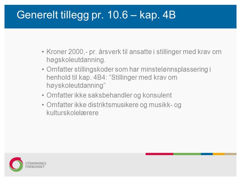 Generelt tillegg pr. 10.6 – kap. 4B Kroner 2000,- pr. årsverk til ansatte i stillinger med krav om høgskoleutdanning. Omfatter stillingskoder som har