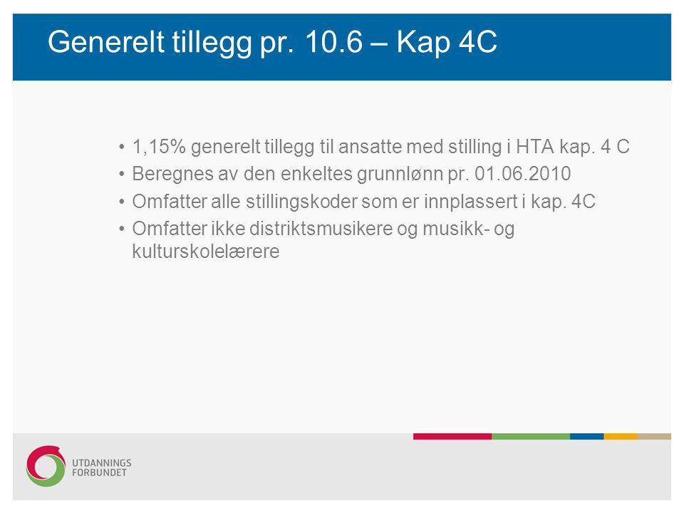 Generelt tillegg pr. 10.6 – Kap 4C 1,15% generelt tillegg til ansatte med stilling i HTA kap. 4 C Beregnes av den enkeltes grunnlønn pr. 01.06.2010 Om